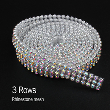 2017 Top Fashion Promotion Brilliant SS8 CrystalAB Rhinestone 3rows Aluminum mesh strass For Garment Bags Free Shipping(China)