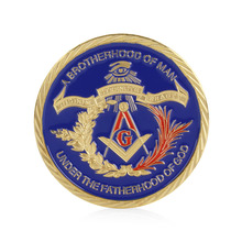 Gold Plated Masonic Brotherhood of Man Commemorative Challenge Coin Collection Gift