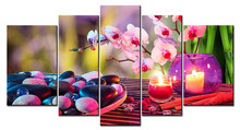 5 Panels Unframed Canvas Photo Prints Candles Orchids and Pebbles Wall Decorations Artwork Giclee Paintings Home Decor(China)