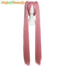 "MapofBeauty 120cm 47"" Long straight hair 2 ponytail 7colors blue pink black cosplay wig shape Claw Heat Resistant synthetic wigs"