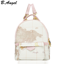 High quality small white map backpack leather kids' backpack school bag travel backpack women corssbody(China)