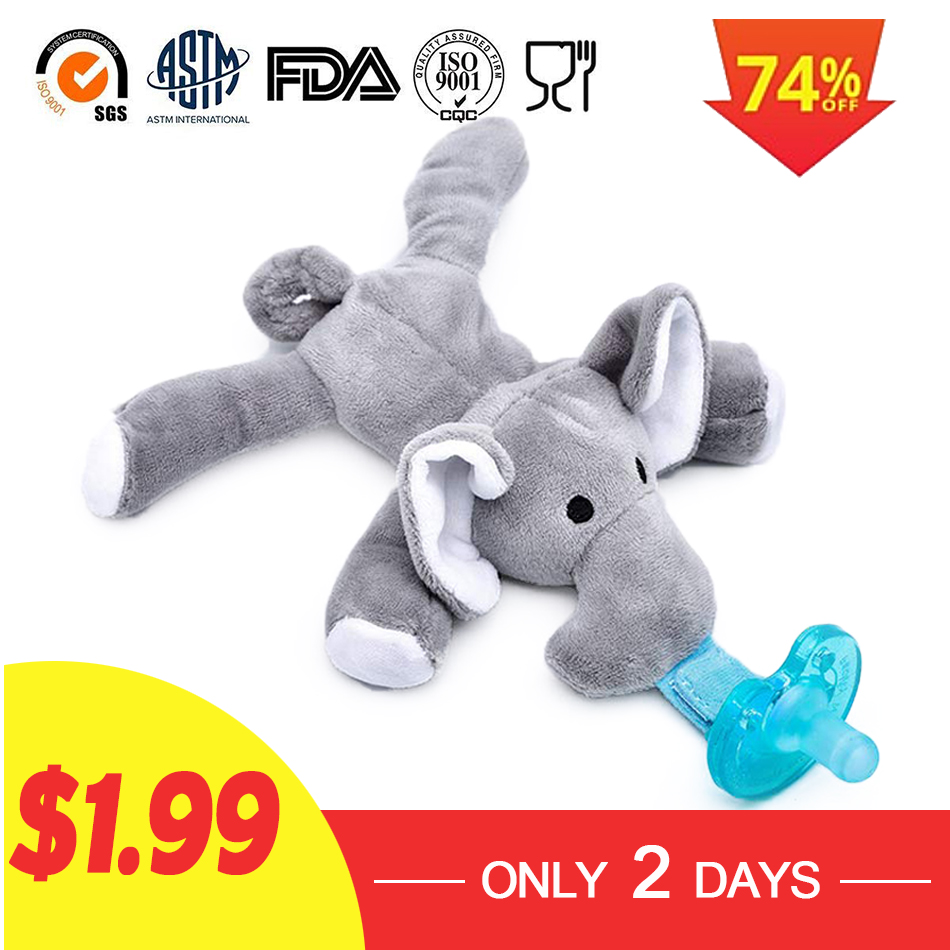 Baby Pacifiers Holder with Plush Animal Toy Removable Infant Pacifiers Infant Soothie Pacifier and Teether Holder with Clip