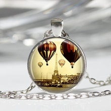 Eiffel Tower Necklace Paris Jewelry Travel Hot Air Balloons France Art Pendant Bronze or Silver Plated Chains Neckalce HZ1(China)