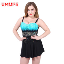 UMLIFE Women Plus Size One Piece Swimsuit Sexy Skirt Swimwear Padded Monokini Womens Push Up Bathing Suits Large Bust Beachwear(China)