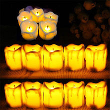12PCS/ LOT Flameless Battery Christmas LED Tea Light Flickering Amber Tealights Candles(China)
