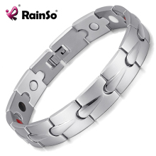 Buy Rainso Stainless Steel Silver Polished 4 Elements Energy Golf Magnetic Health Bracelets Men OSB-1536S for $9.55 in AliExpress store