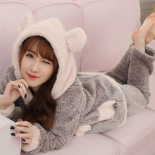 Women Hood Pajamas Woman Sleepwear WinterThickening Coral Fleece Thermal Flannel Nightgowns(China)