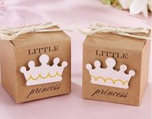 100 x Little Prince/Princess Kraft Paper Baby Shower Favor Box with Twine Bow Pack and baby Decoration Gift(China)