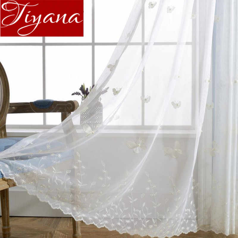 White Curtains Butterfly Pearls Embroidered Voile Curtains Window Modern Living Room Net Curtains Tulle Sheer Rideaux T&224 #30