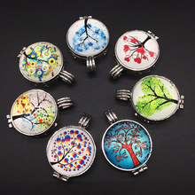 7pcs Vintage Silver Mixed Tree of Life Design Essence Oil Fragrance Aroma Diffuser Trendy Cameo Locket Pendant Necklace Jewelry