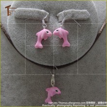 PT1890 Earbob Pink Dolphin Charm Thomas Style  Good Jewelry In silver-plated