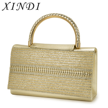 XINDI Vintage Bag for Women clutch crystal diamonds handle ladies gold handbags wedding purse PvC shoulder bag evening sling bag(China)