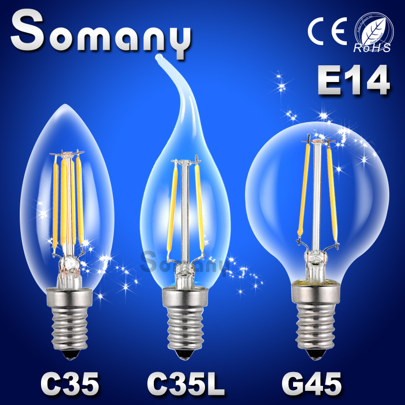E14 2W 4W 220V 110V C35 G45 Dimmable Retro Filament LED Bulb Candle Light Spot Lamp Chandelier Replace Incandescent Spotlight<br><br>Aliexpress