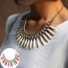 Tomtosh 2016 New Hot Fashion Women Crystal Pendant Chain Choker Chunky Statement Bib Necklace Free shipping