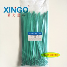4.8 Width 100pcs/bag Green Color 5X200MM National Self-Locking Nylon Wire Cable Zip Ties Organiser Fasten - xingo Official Store store