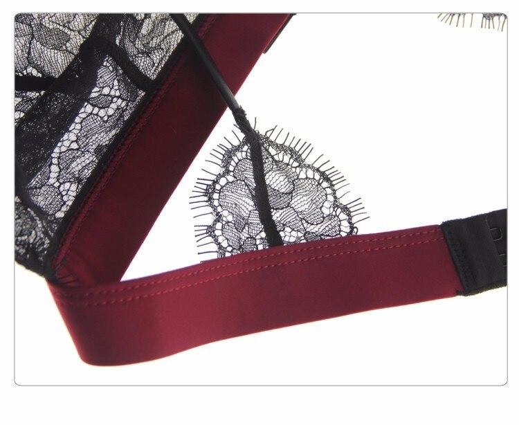 Munllure Ultra-thin sexy lace bra set eyelash lace transparent thin wireless triangle bra and pantiles set women underwear set 21