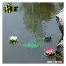 Solar lotus a set !!! Artificial plastic lotus flowers with led lights Solar Water Lily floating for pools decoration(China)