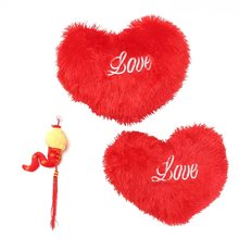 Red Plush Heart Pillow 42cm/50cm Seat Back Car Cushion Pillow Wall Hanging Cushion Valentine's Day Gift Home Bedroom Bedding