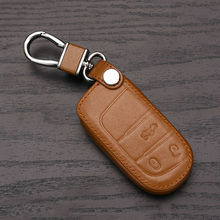 High quality 3 button remote control leather key case for Fiat/ for Jeep Renegade leather smart cover car key bag dust collector(China)