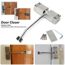Mayitr Automatic Door Closer Household Hotel Office Adjustable Stainless Steel Surface Mounted Closing Device For Hardware