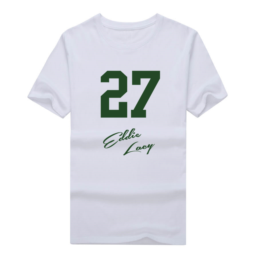 2017 Men Signed #18 Eddie Lacy Signature T-shirt Clothes Green Bay Short Sleeve packers T SHIRT Men's W0122008(China (Mainland))