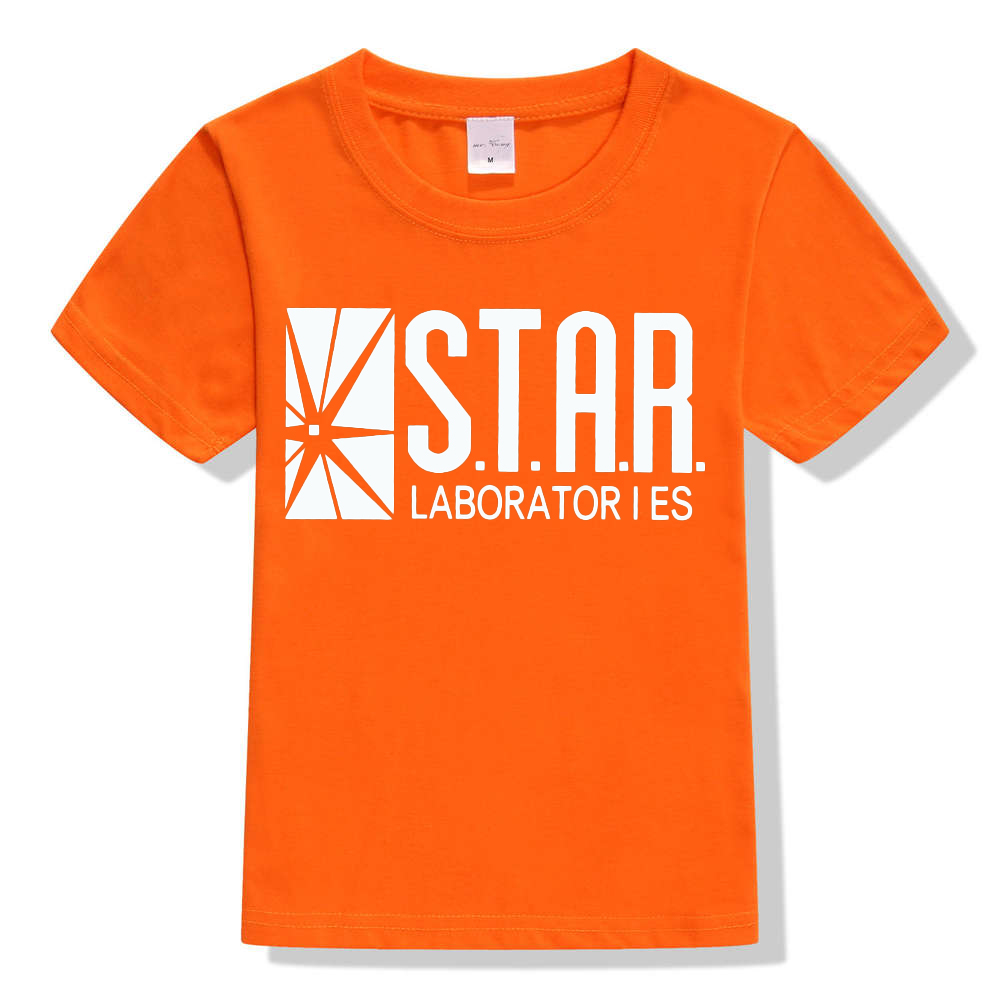 3-10Y Kids Black Star Lab Letter Print Short Sleeve T Shirt Boys Novelty T-shirt Girls Tshirt Clothes Anime Comics The Flash 11