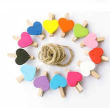 50Pcs/lot Mixed Cute Heart Style Wooden Clip Spring Laundry Clamp Book Toy Photo Art Clip for Home Office School Colorful(China)