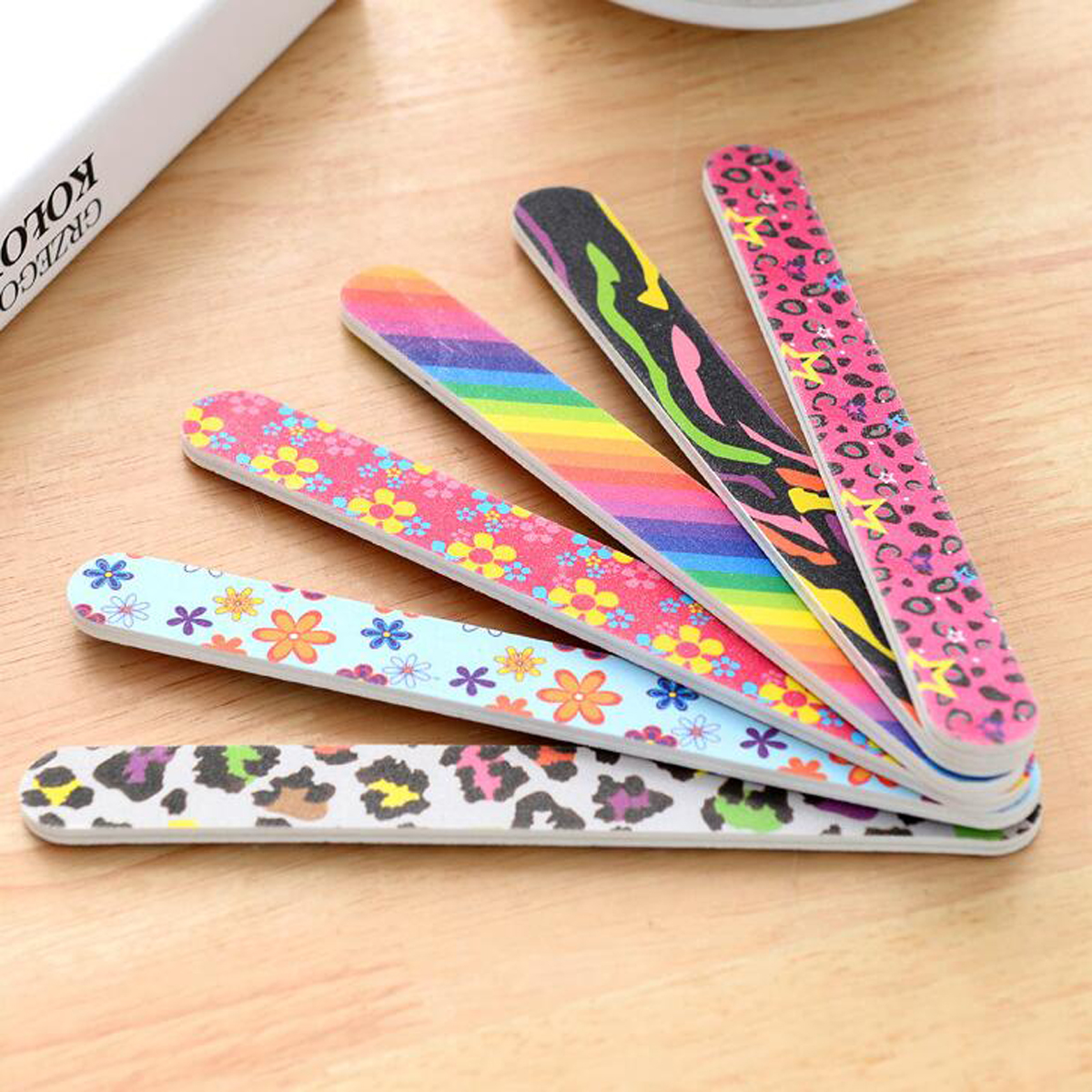 10pcs/pack Fashion Printed Double-sided Nail File Sanding Nail Polishing Grinding Strip Manicure Nail Art Tool Accessories