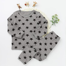 Children Pajamas Suits Fashion Girls And boys Cotton O-neck Clothing Sets Star Pattern 2017 New Long Sleeve Top Tee Long Pants(China)
