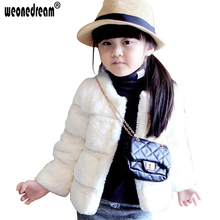 Infant Toddler Girl's Winter Faux Fur Coat Jacket 2017 Girls Winter Coat Warm Pink Long Sleeves Outerwear for Girls Clothes