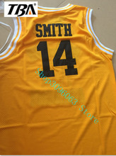 TBA Free Shipping Throwback Sleeveless Jerseys 14# Yellow Black Green Will Smith the Fresh Prince Movie American  Basketball Jer