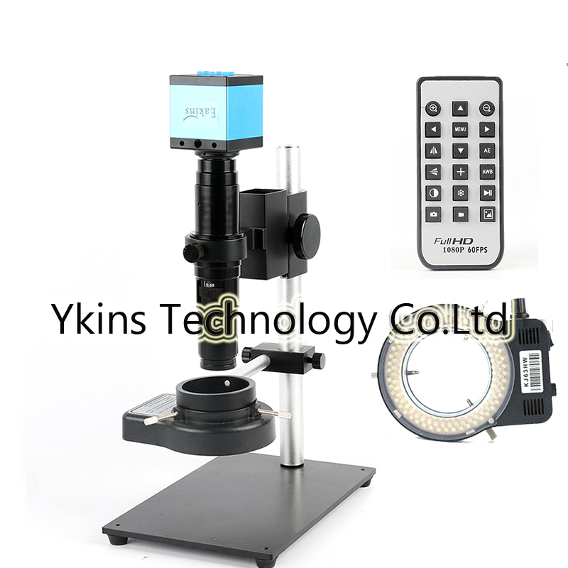 HDMI 16MP 1080P USB Microscope Camera + Full Metal Bracket + 10X – 200X Zoom C-mount Lens for iPhone PCB Inspection Repair