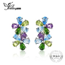 JewelryPalace Flower 4ct Natural Sky Blue Topaz Amethyst Peridot Chrome Diopside Clip Earrings Solid 925 Sterling Silver Jewelry