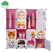 PRWMAN 16 Cube 2PC Hooks Cartoon Pink DIY Magic Piece of Resin Storage Cabinets Bedroom Wardrobe Furniture Student Home Wardrobe(China)