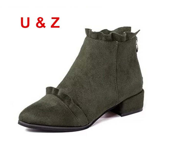 Spring Summer Newest Green/Black suede small 30mm low heels,Fashion Square heel ankle boots US9 Lovely style<br>