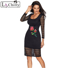 Buy La Chilly Vestidos 2018 Autumn Dress Women Clothing Sexy Mini Rose Embroidery Black Lace Mesh Long Sleeve Bodycon Dress LC61788 for $14.36 in AliExpress store