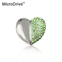 microdrive metal crystal love Heart USB Flash Drive 64GB 32GB pen drive special gift pendrive 8GB/16GB diamante memory sticK