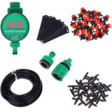 DIY 25M Micro Drip Irrigation System Watering Timer Garden Hose Kits Plant Self Automatic Watering Controller Adjustable Dripper