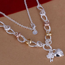 N212 free shipping wholesale 925 silver necklace, 925 silver fashion jewelry Inlaid Heart Lock And Flower Key Necklace(China)