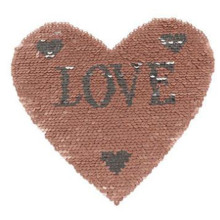 Clothing embroidery patch sequins up and down change color 21cm love heart deal with it patches for clothes free shipping