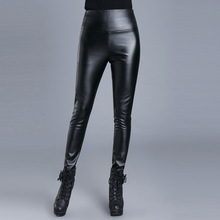 Slim black pu leather pants female feet fall and winter outer wear tight shiny pants high waist plus size
