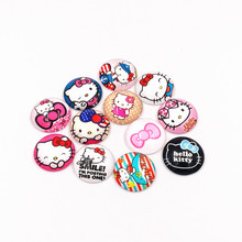 12PCS Cute Hello Kitty Glass Cabochon Round Photo Cameo Cabochon Setting Supplies for Jewelry Accessories Handmade Pattern Gifts