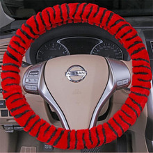 Women Lady For BMW X1 X3 X5 320i3 Good Quality Winter heated Velvet Plush Zebra Car Steering Wheel Cover