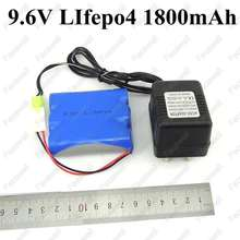 1pcs brand 9.6v 1800mah 18650 LiFePO4 9.6v battery pack cells 3s 2000mAh cells for RC Not nimh nicd + 9.6v charger 2p connector