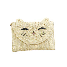 Smile Cat Design Woven Bag for Women Embroidery Summer Beach Bag Cute Bohemian Straw Bag Cross Body Chain Shoulder Bag Q115