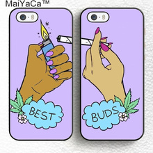 MaiYaCa 2pcs/lot Besties Best Buds Smoking Pair Matching Soft Rubber Phone Cases For iPhone 6 6S Plus 7 Plus 5 5S SE Back Shell(China)