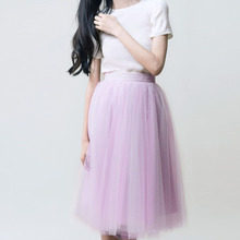 England Fresh Knee Length Sort Tulle Skirts For Women Zipper Style Lavender Pink Light Green Tutu Skirt Women Clothing Summer
