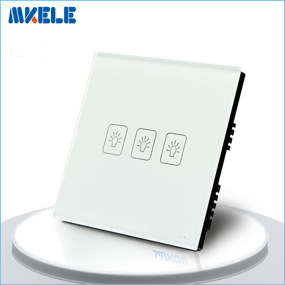 3 Gang 2 Way wall switch for lamp Touch Switch White Crystal Glass panel UK Standard<br><br>Aliexpress
