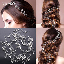 YXPH Bride Handmade Pearl Crystal Hair With Headdress Wedding Dress Accessories Hair With Bridal Jewelry Long 1 Meter Hairbands