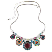 FAMSHIN Bohemia vintage metal enamel necklace women currently multicolored beads and pendants jewelry for gifts well Colar party(China)